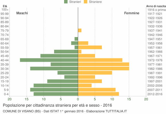 Grafico cittadini stranieri - Visano 2016