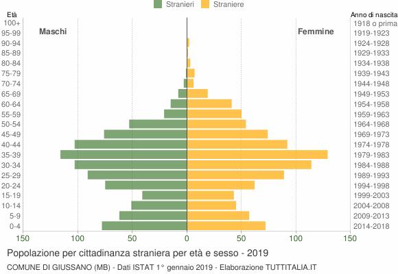 Grafico cittadini stranieri - Giussano 2019