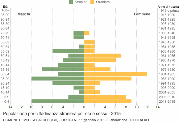 Grafico cittadini stranieri - Motta Baluffi 2015