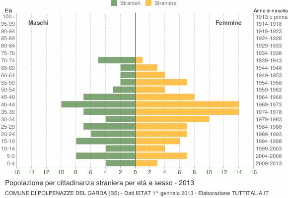 Grafico cittadini stranieri - Polpenazze del Garda 2013