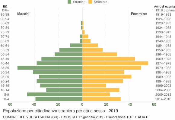 Grafico cittadini stranieri - Rivolta d'Adda 2019