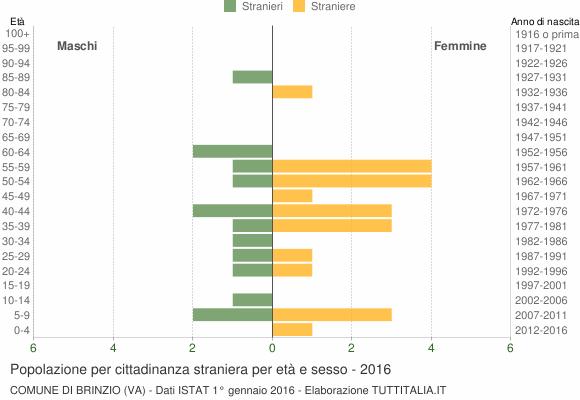 Grafico cittadini stranieri - Brinzio 2016