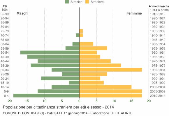 Grafico cittadini stranieri - Pontida 2014