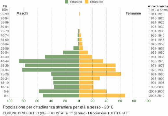 Grafico cittadini stranieri - Verdello 2010