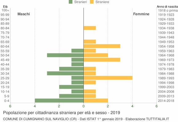 Grafico cittadini stranieri - Cumignano sul Naviglio 2019