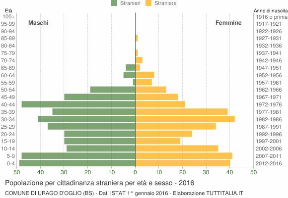 Grafico cittadini stranieri - Urago d'Oglio 2016