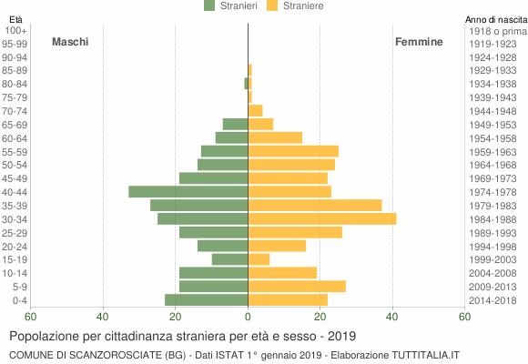 Grafico cittadini stranieri - Scanzorosciate 2019