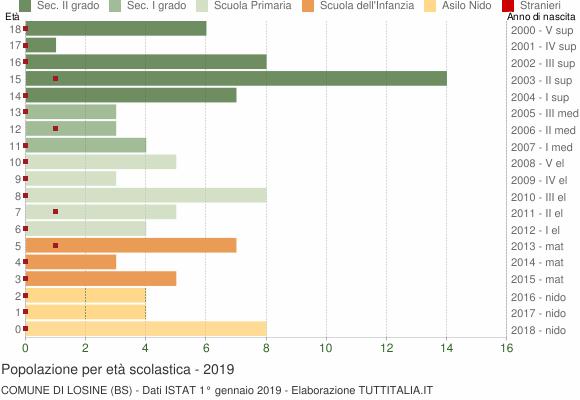 Grafico Popolazione in età scolastica - Losine 2019