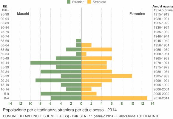 Grafico cittadini stranieri - Tavernole sul Mella 2014