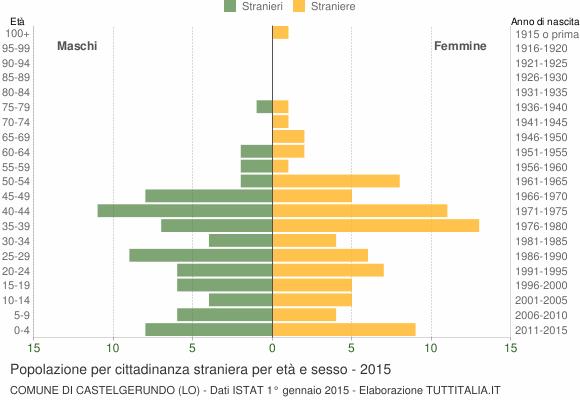 Grafico cittadini stranieri - Castelgerundo 2015