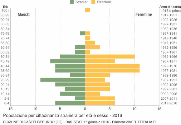 Grafico cittadini stranieri - Castelgerundo 2016