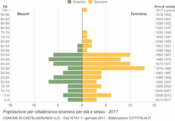 Grafico cittadini stranieri - Castelgerundo 2017
