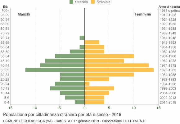 Grafico cittadini stranieri - Golasecca 2019