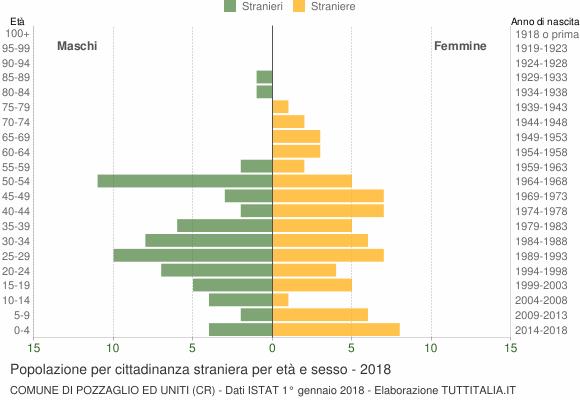 Grafico cittadini stranieri - Pozzaglio ed Uniti 2018