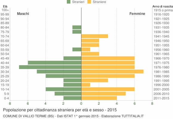 Grafico cittadini stranieri - Vallio Terme 2015