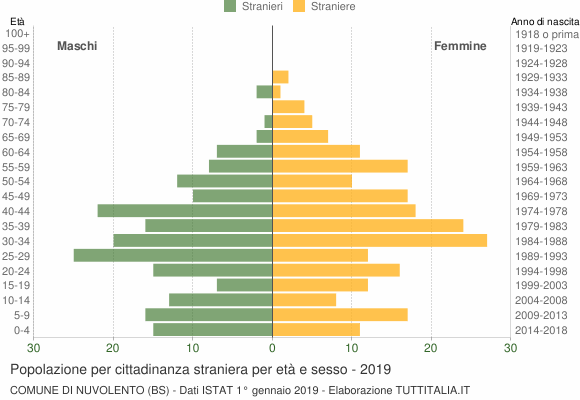 Grafico cittadini stranieri - Nuvolento 2019