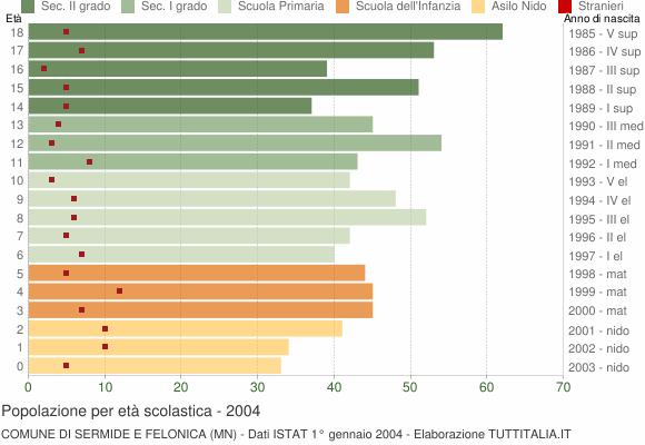 Grafico Popolazione in età scolastica - Sermide e Felonica 2004