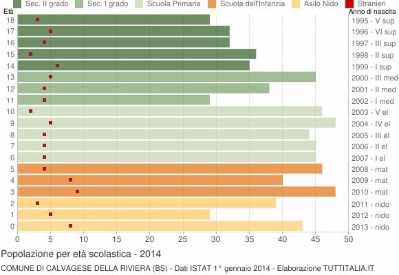 Grafico Popolazione in età scolastica - Calvagese della Riviera 2014
