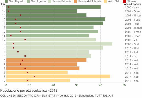 Grafico Popolazione in età scolastica - Vescovato 2019