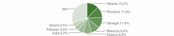 Grafico cittadinanza stranieri - Erbusco 2018