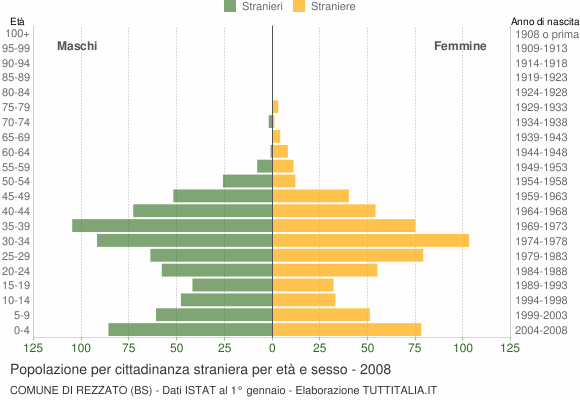 Grafico cittadini stranieri - Rezzato 2008