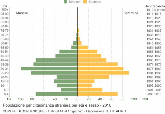 Grafico cittadini stranieri - Concesio 2010
