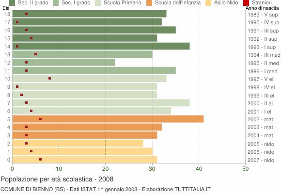 Grafico Popolazione in età scolastica - Bienno 2008