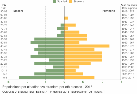 Grafico cittadini stranieri - Bienno 2018