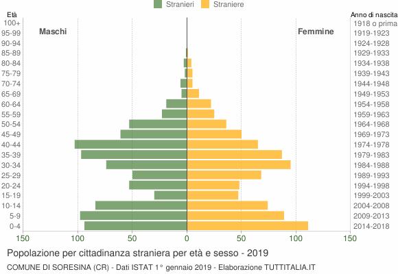 Grafico cittadini stranieri - Soresina 2019
