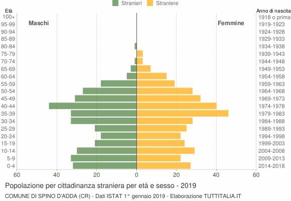 Grafico cittadini stranieri - Spino d'Adda 2019