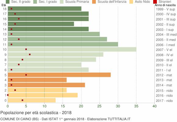 Grafico Popolazione in età scolastica - Caino 2018