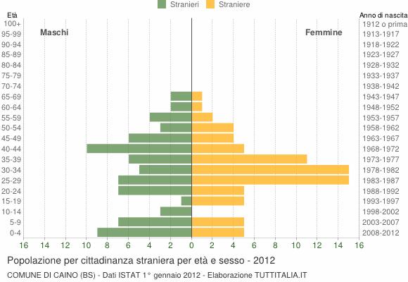Grafico cittadini stranieri - Caino 2012