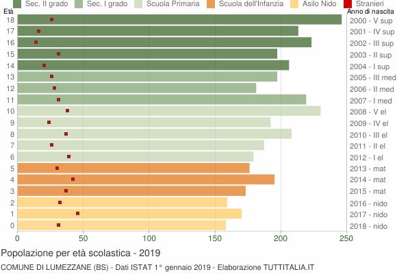 Grafico Popolazione in età scolastica - Lumezzane 2019