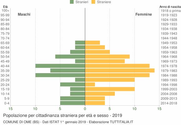 Grafico cittadini stranieri - Ome 2019