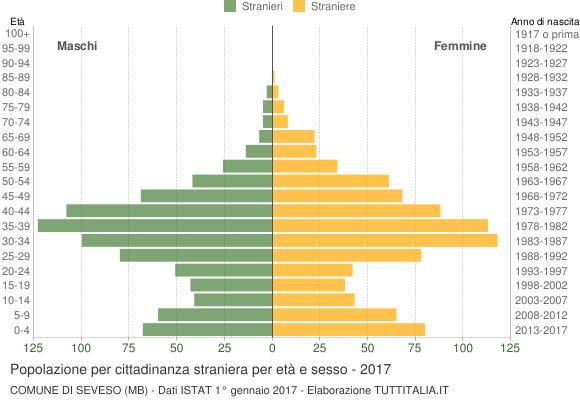 Grafico cittadini stranieri - Seveso 2017