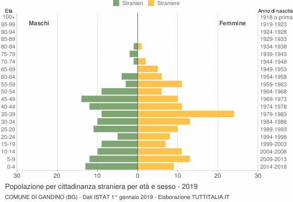 Grafico cittadini stranieri - Gandino 2019