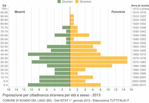 Grafico cittadini stranieri - Soiano del Lago 2013
