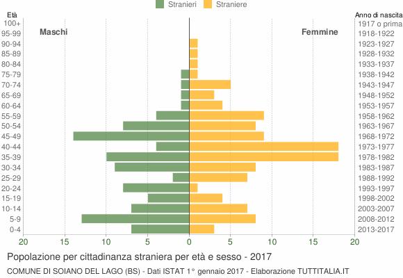 Grafico cittadini stranieri - Soiano del Lago 2017