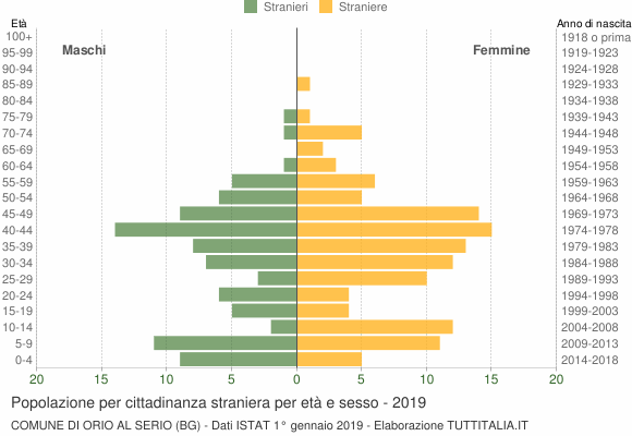 Grafico cittadini stranieri - Orio al Serio 2019