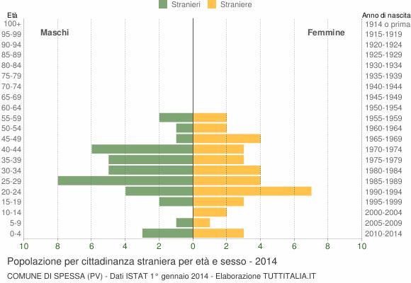 Grafico cittadini stranieri - Spessa 2014