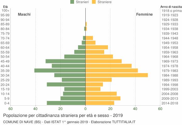 Grafico cittadini stranieri - Nave 2019