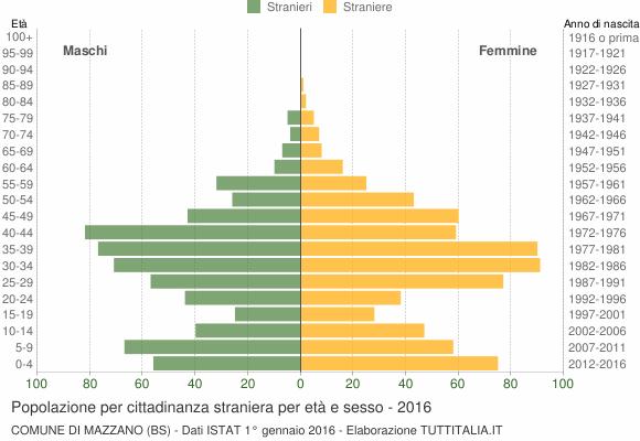 Grafico cittadini stranieri - Mazzano 2016