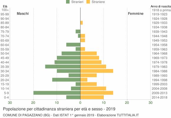 Grafico cittadini stranieri - Pagazzano 2019