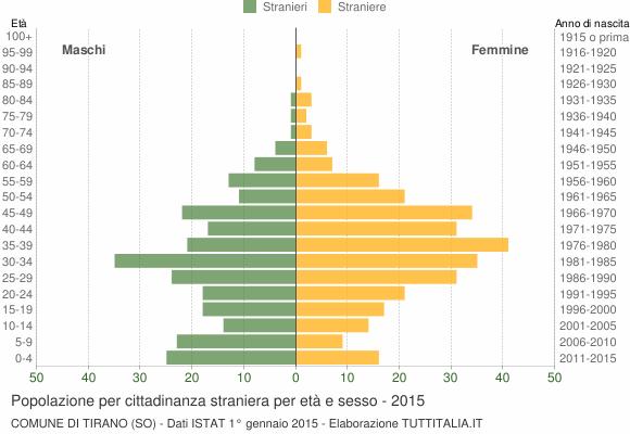Grafico cittadini stranieri - Tirano 2015