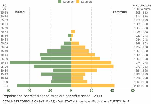Grafico cittadini stranieri - Torbole Casaglia 2008