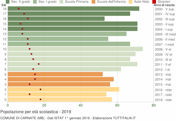Grafico Popolazione in età scolastica - Carnate 2019