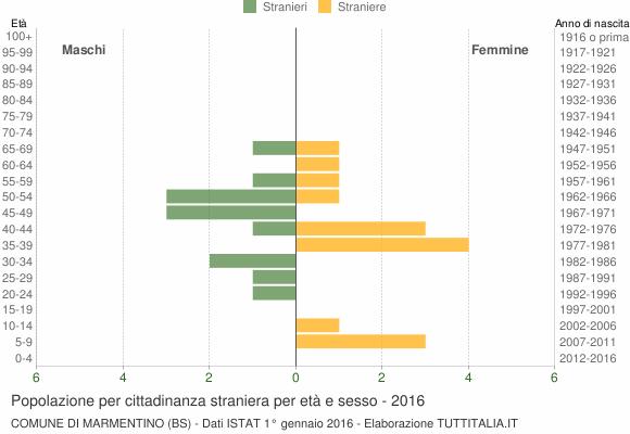 Grafico cittadini stranieri - Marmentino 2016