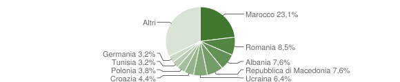 Grafico cittadinanza stranieri - Moniga del Garda 2012
