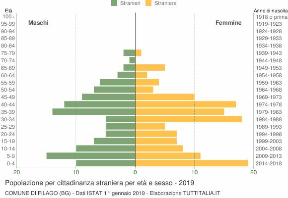 Grafico cittadini stranieri - Filago 2019