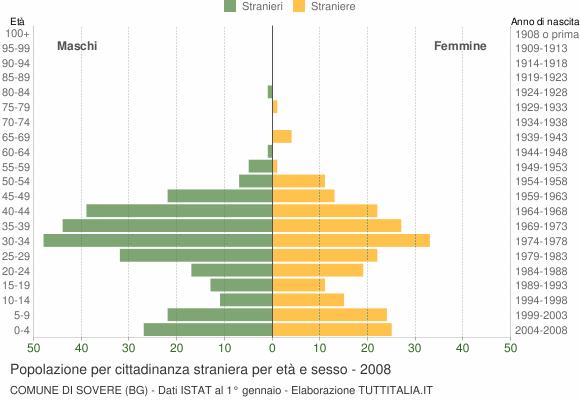 Grafico cittadini stranieri - Sovere 2008